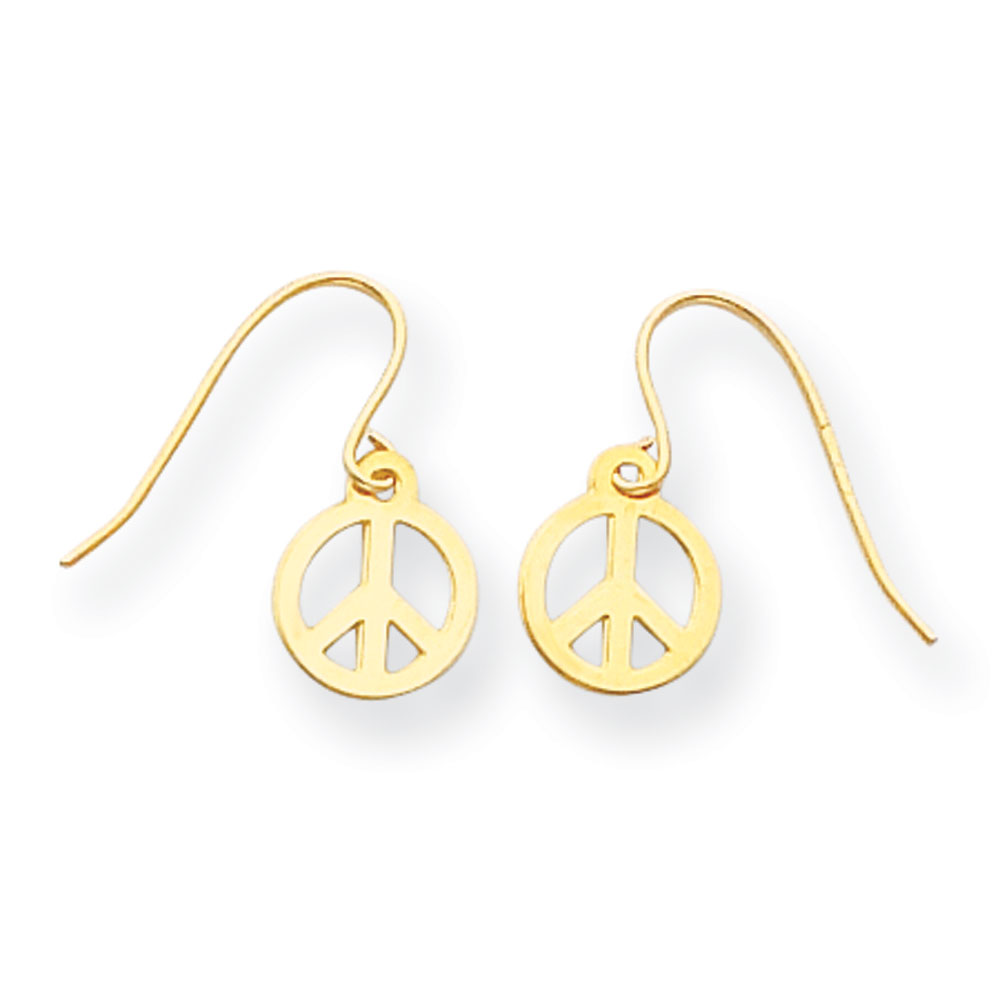 Jewelryweb 14k Peace Sign Drop Earrings - Measures 15x8mm