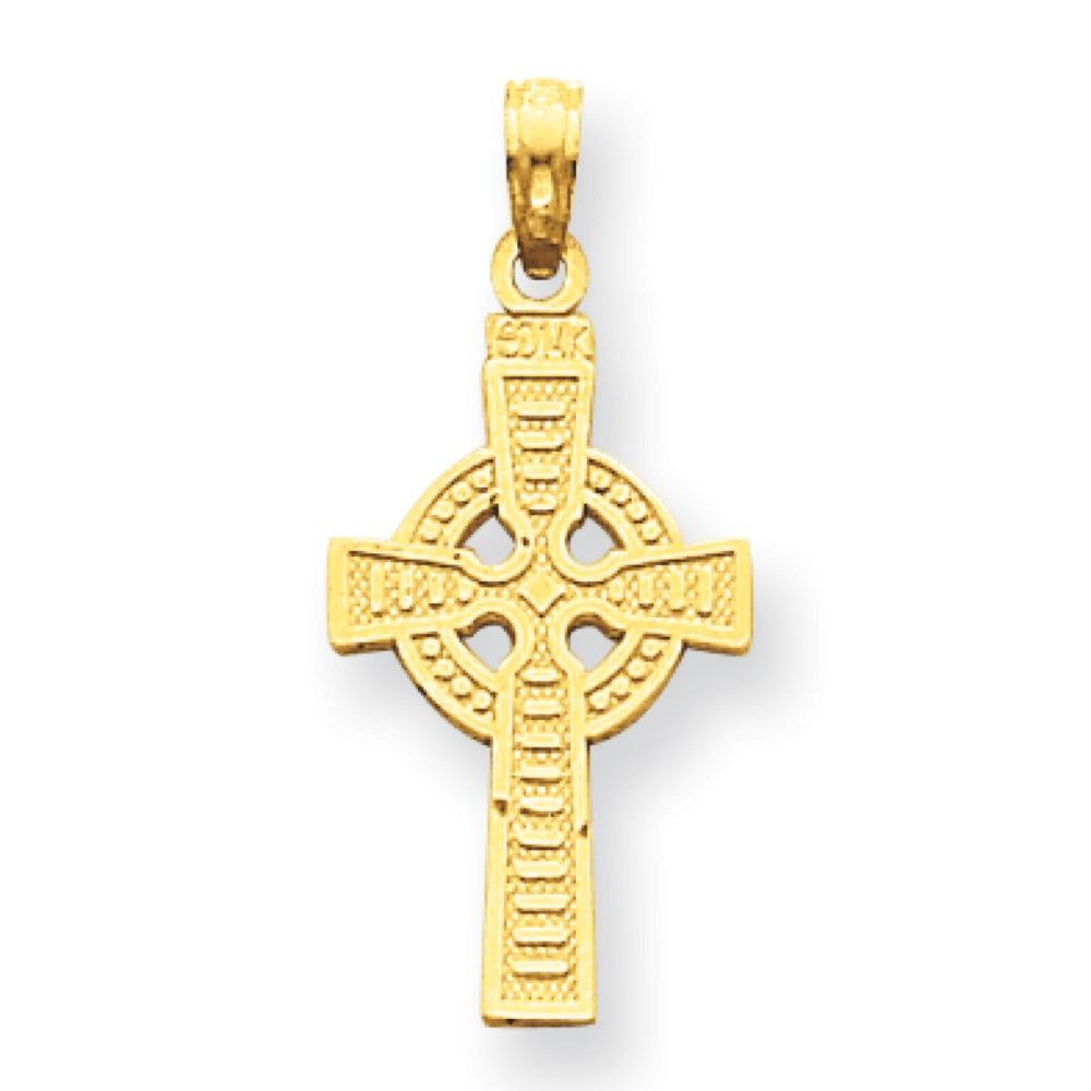 Jewelryweb 14k Reversible God is Love Celtic Cross Pendant - Measures 20x13mm