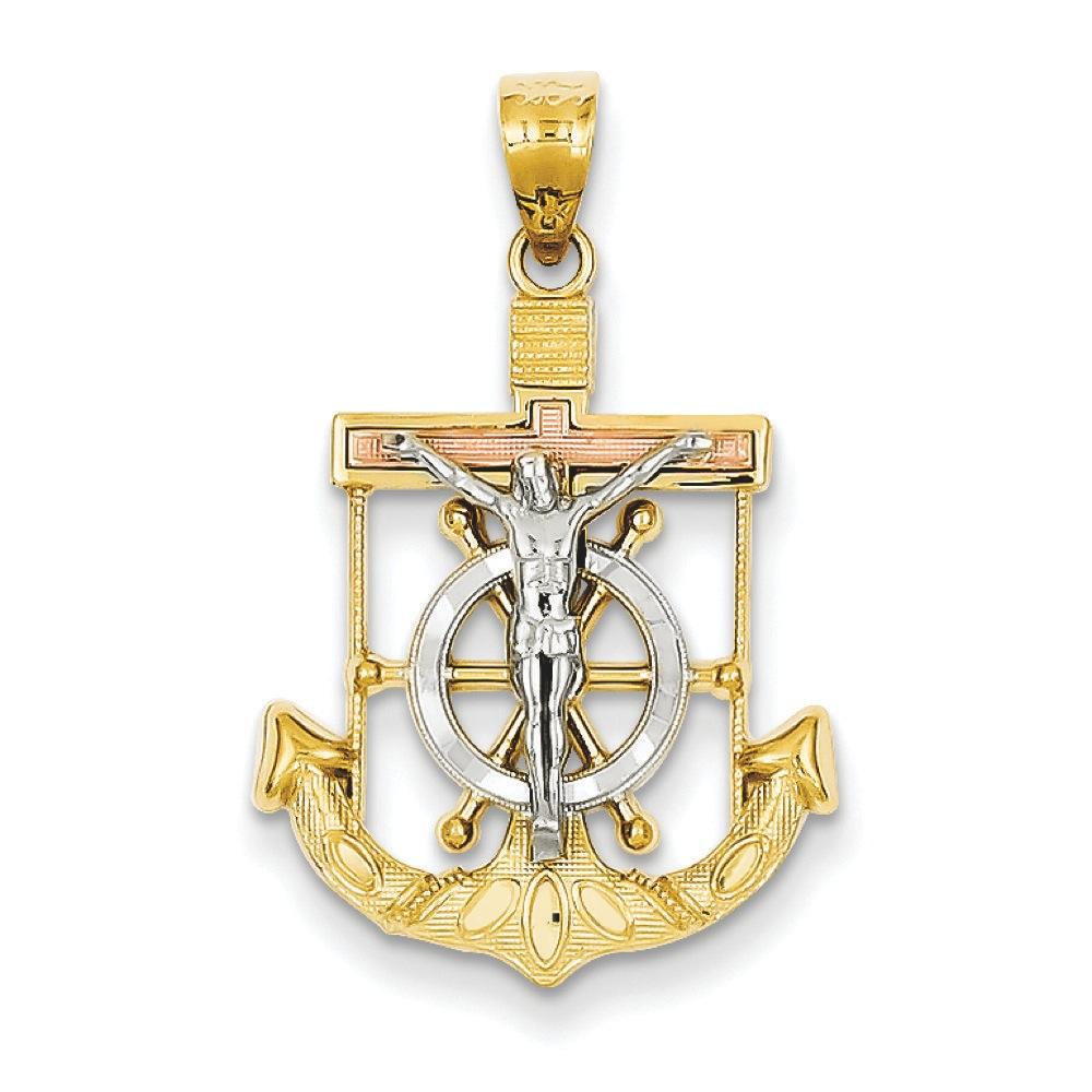 Jewelryweb 14k Tri-color Diamond-cut Textured Mariners Cross Pendant - Measures 21x17mm at Sears.com