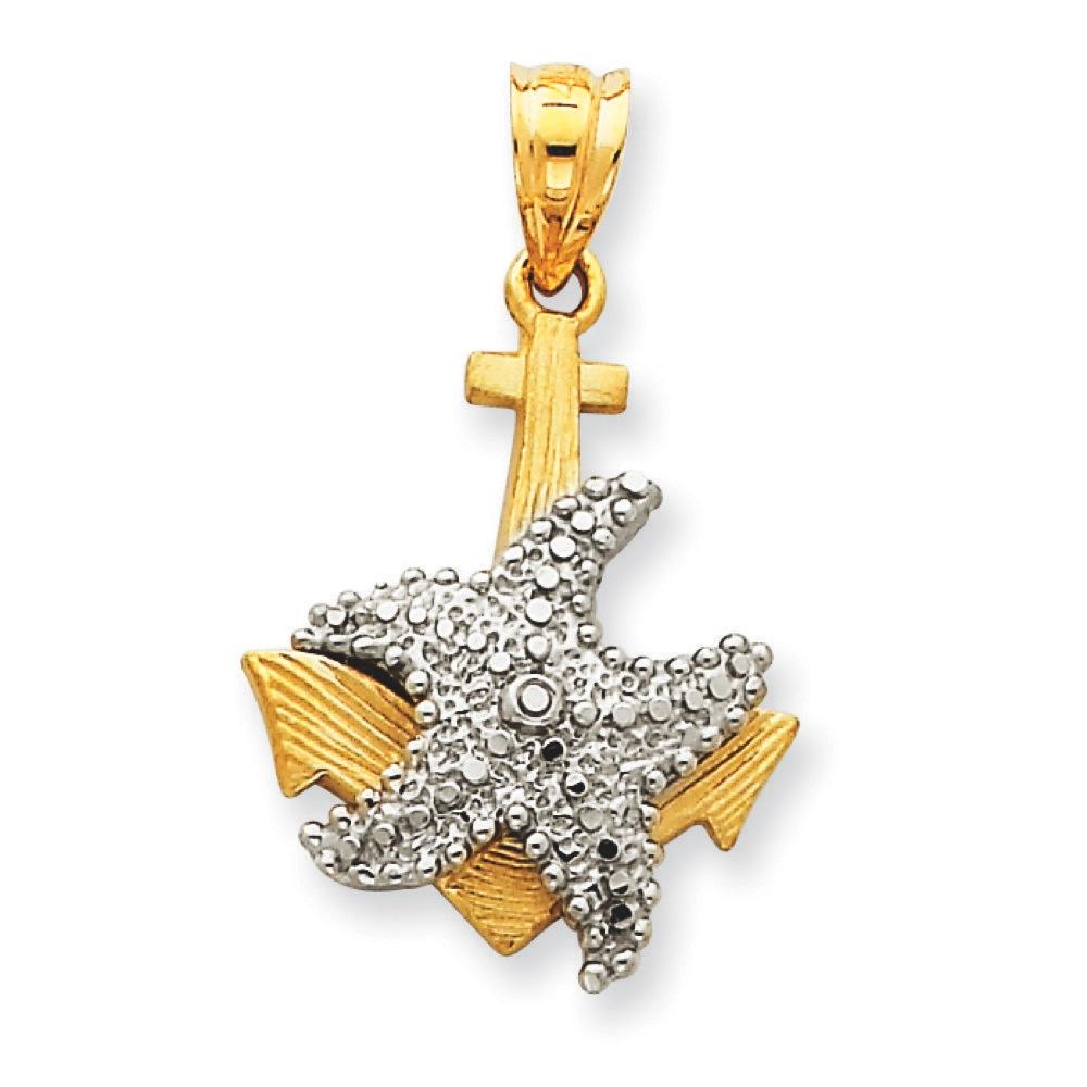 Jewelryweb 14k Two-Tone Solid D-Cut Anchor Starfish Pendant
