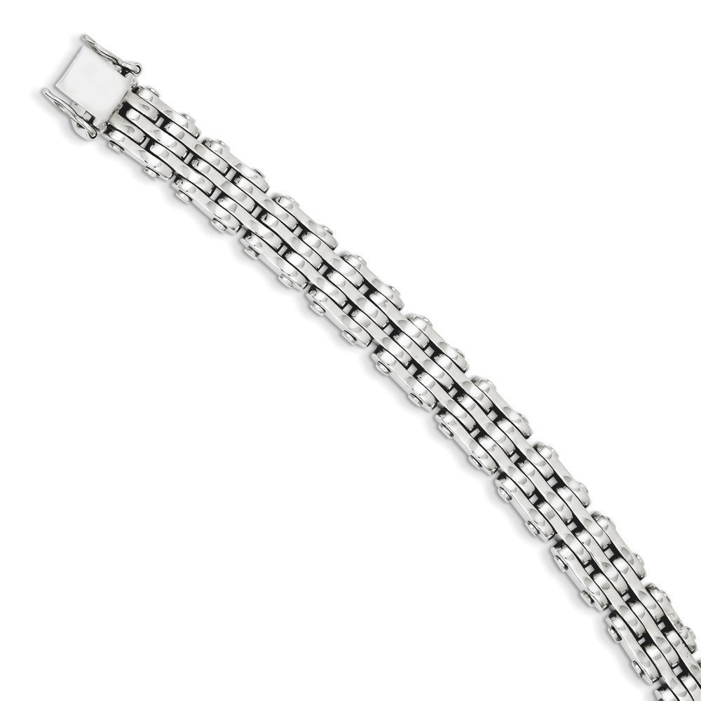 Jewelryweb 14k White Gold 9.7mm Polished Fancy Link Bracelet - 8.5 Inch - Lobster Claw at Sears.com