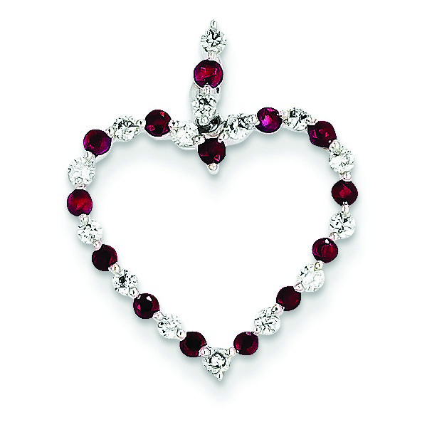 Jewelryweb 14k White Gold Diamond and Ruby Heart Pendant - Measures 22.6x18.1mm at Sears.com