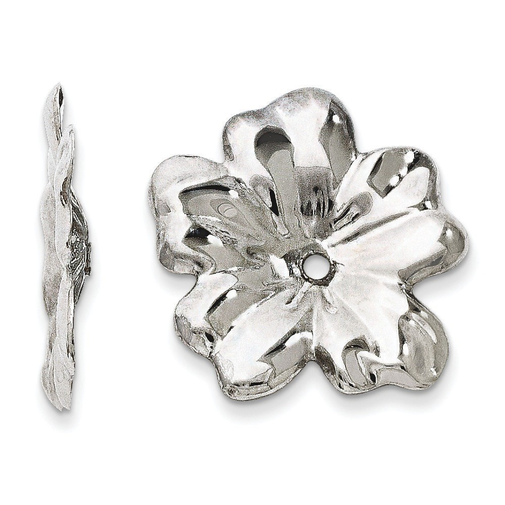 Jewelryweb 14k White Gold Floral Earrings Jackets