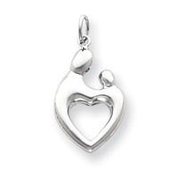Jewelryweb 14k White Gold Heart Shaped Mother and Child Pendant