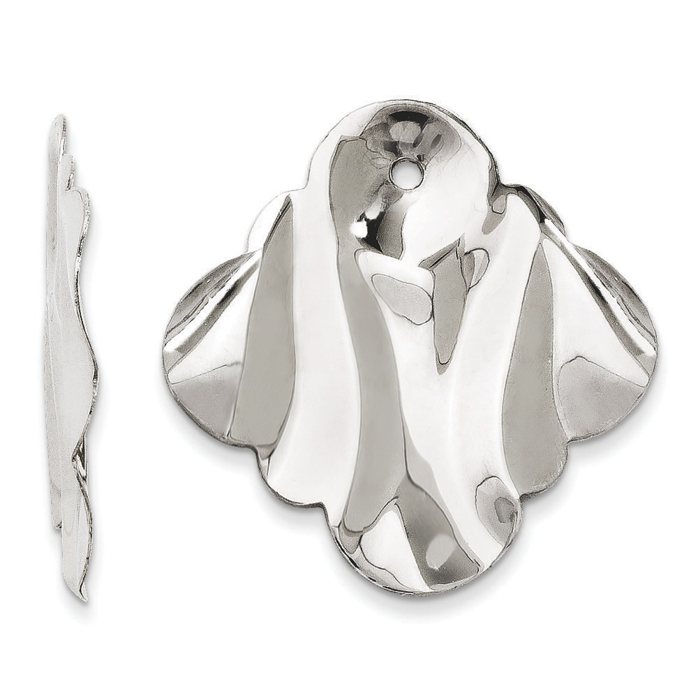 Jewelryweb 14k White Gold Polished Hammered Fancy Earrings Jackets