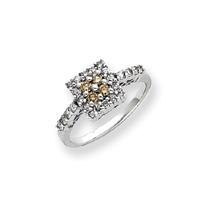Jewelryweb 14k White Gold White and Champagne Diamond Ring