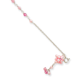 Jewelryweb 7 Inch Pink Cultured Pearl Crystal CZ Clump Bracelet - Spring Ring at Sears.com