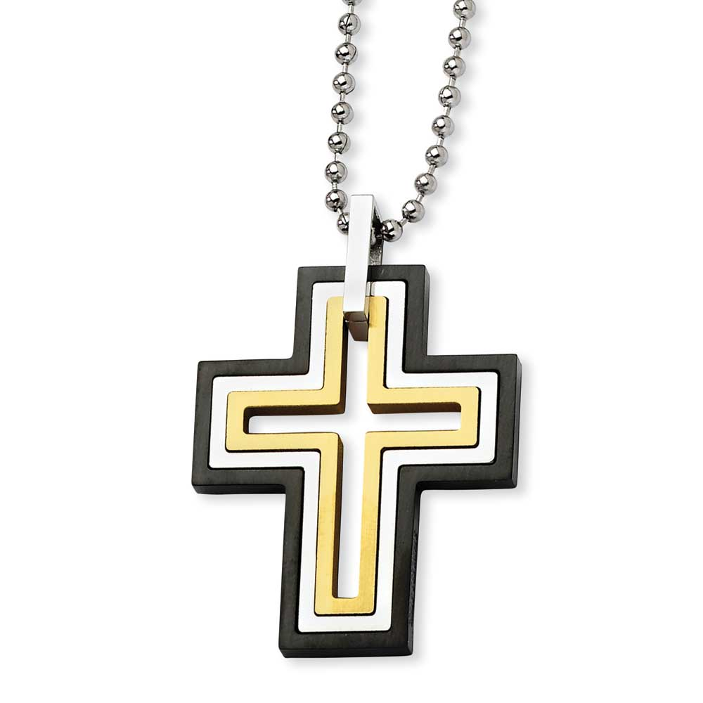 Jewelryweb Stainless Steel Black Plated Moveable Cross Necklace 22 Inch