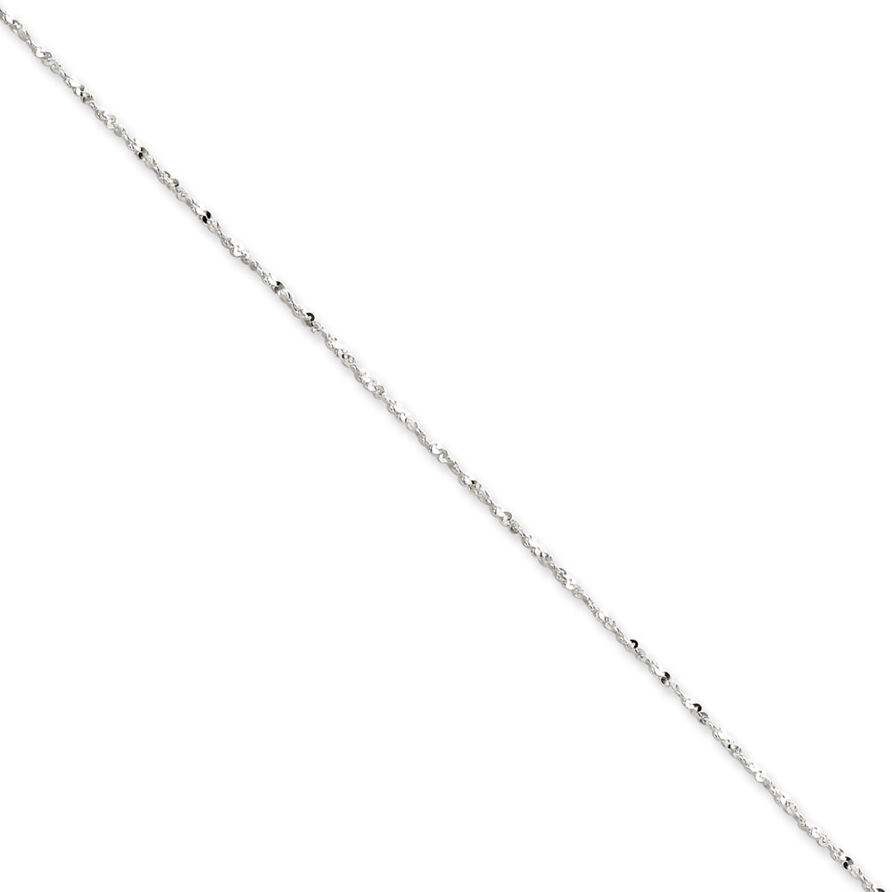 Jewelryweb Sterling Silver 1.2mm Twisted Serpentine Chain - 24 Inch - Spring Ring
