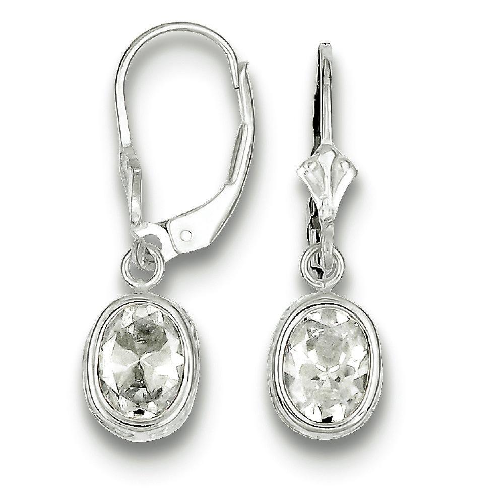 Jewelryweb Sterling Silver 8x6mm Oval CZ Leverback Earrings