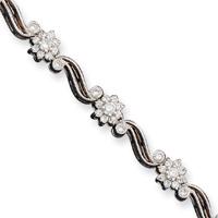 Jewelryweb Sterling Silver Flower CZ Bracelet - 7 Inch - Box Clasp at Sears.com
