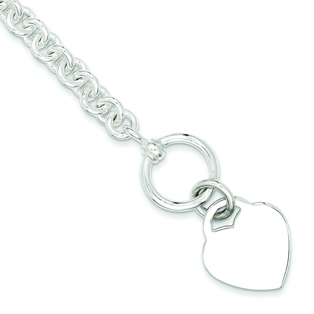Jewelryweb Sterling Silver Heart Disc Fancy Charm Bracelet - 8.75 Inch - Toggle at Sears.com