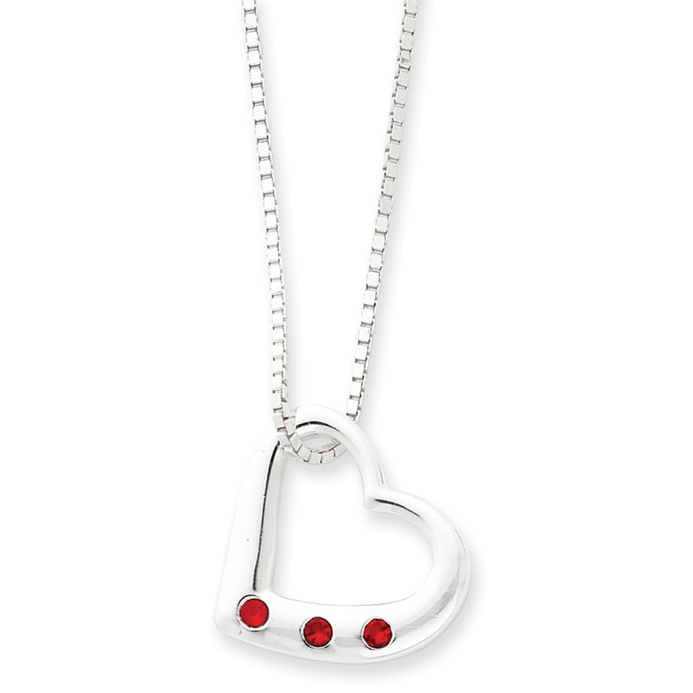Jewelryweb Sterling Silver Heart Red CZ Necklace - 16 Inch - Lobster Claw at Sears.com