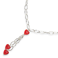 Jewelryweb Sterling Silver Red Crystal Heart Fancy Necklace - 16 Inch - Lobster Claw at Sears.com