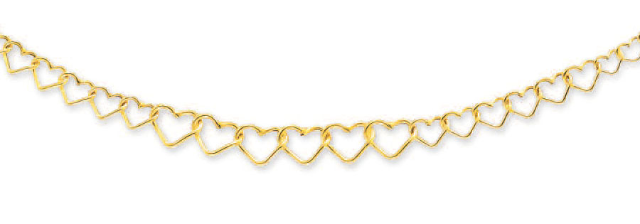 14k Yellow Open Heart Shaped Link Necklace - 17 Inch