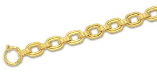 14k Yellow Fancy Link Bracelet - 7.5 Inch