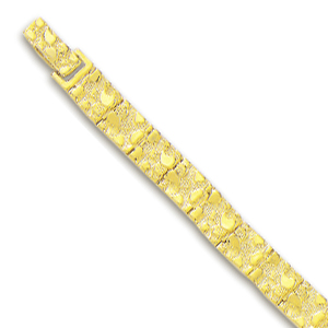 10k Yellow 6 mm Mens Nugget Bracelet - 8 Inch