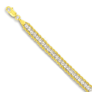 10k Two-Tone Beads and Rope Bracelet - 7 Inch
