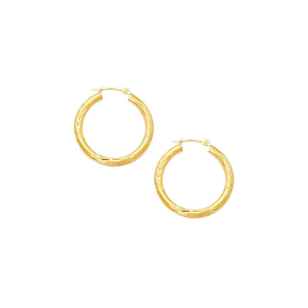 10k Yellow 3 mm Hoop Earrings