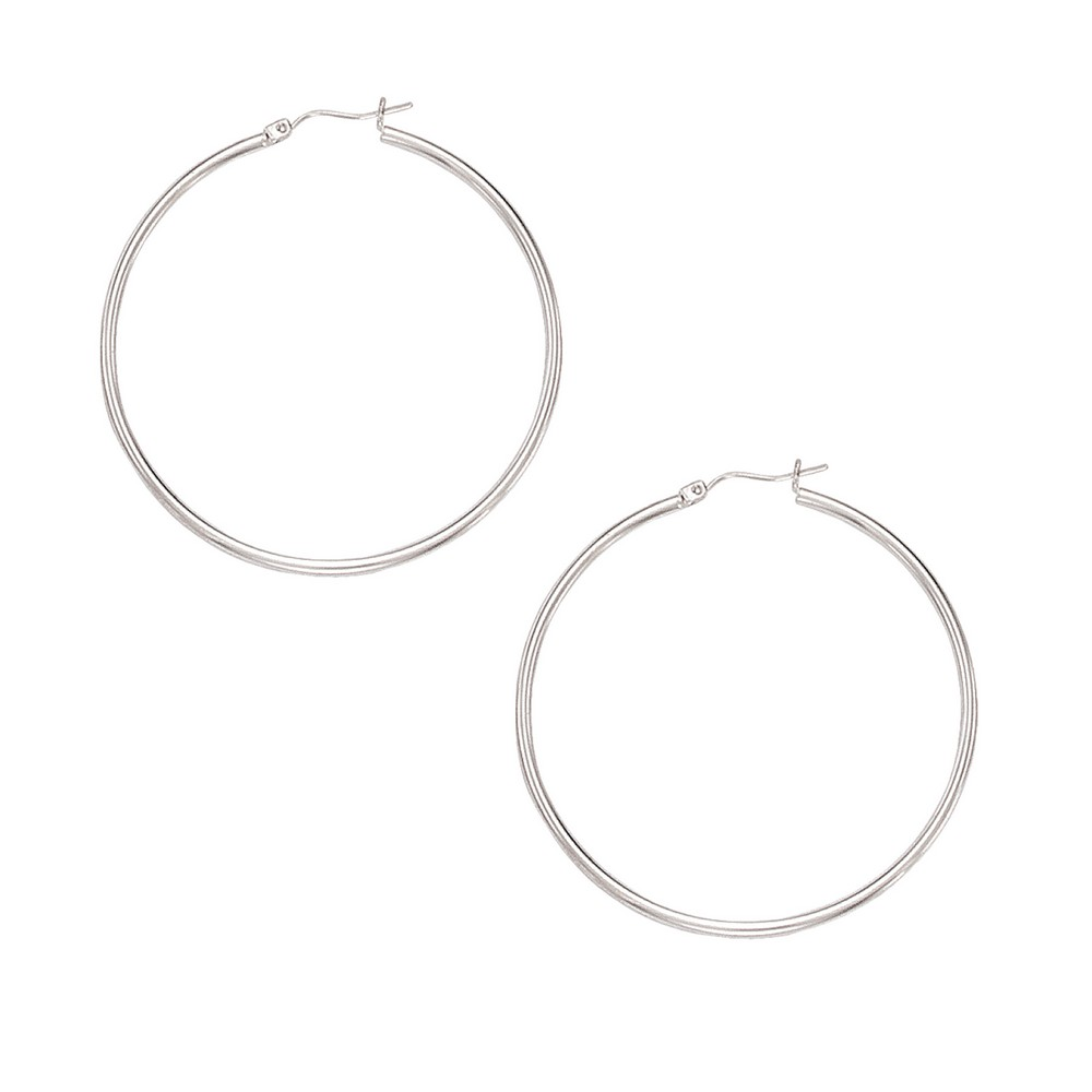 10k White 2 mm Large Hoop Earrings