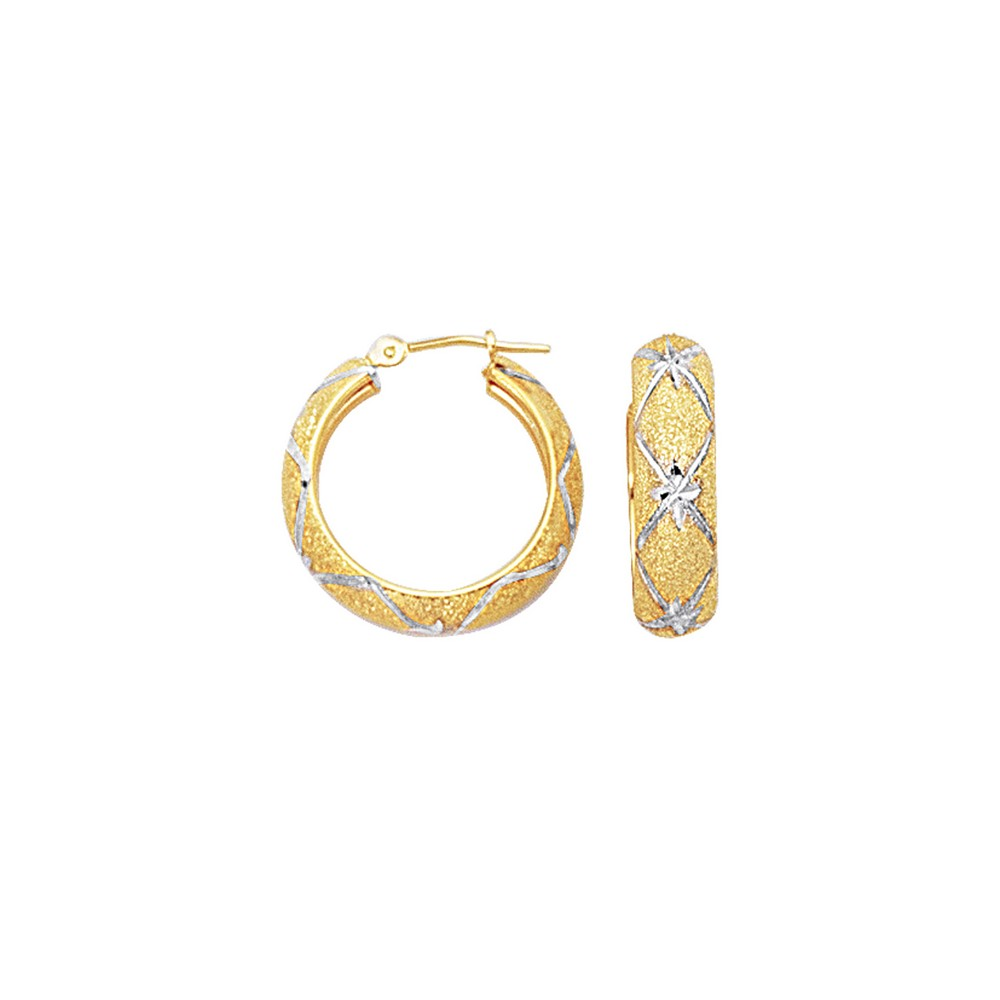 10k Two-Tone 6 mm Diamond-Cut Hoop Earrings