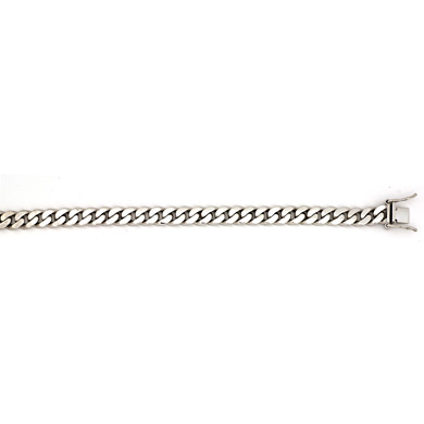 Jewelryweb 14k White Gold 7.7mm Solid Flat Link Curb Bracelet - 8 Inch at Sears.com