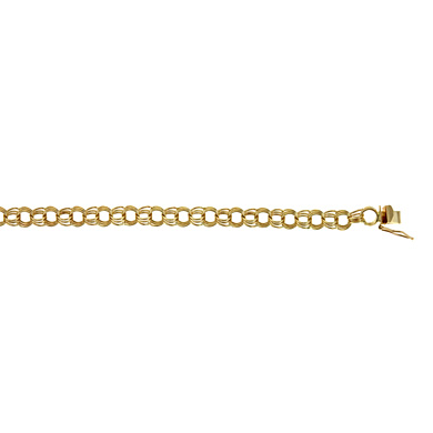 Jewelryweb 14k Yellow Gold 7mm Solid Link Charm Bracelet - 7 Inch at Sears.com