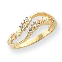 Jewelryweb 10k Tri-color Black Hills Gold Ladies Diamond Ring - Size 6