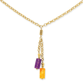 Jewelryweb 14K Amethyst and Citrine Drop Necklace - 18 Inch - Lobster Claw at Sears.com